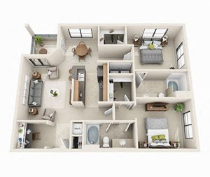 Waterford Floor Plan | 2 Bed 2 Bath | 1,168 sq.ft.