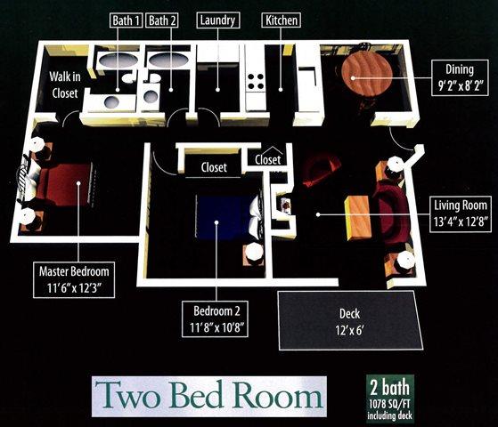 2 Bedroom 2 Bathroom Floor Plan 2