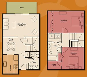Two bedroom townhouse - 2 bedroom apartment rental - Quail Run Apartments | Apartments in Zionsville, IN
