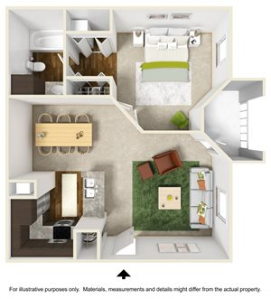 Paradise Falls Floor Plan at The Falls Apartments in Raleigh NC