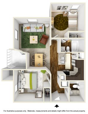 Oasis Falls Floor Plan at The Falls Apartments in Raleigh NC