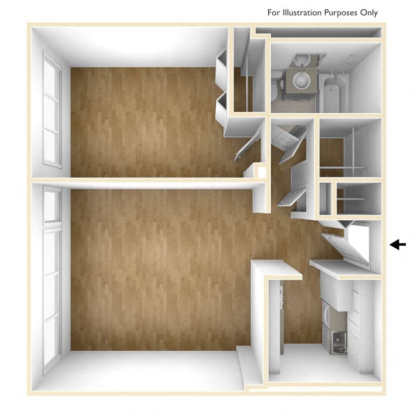 One Bedroom Floor Plan Dorado Apartments