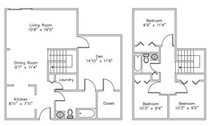 3 Bedroom with Den in State College, PA | Blue Course Commons | Property Management, Inc.