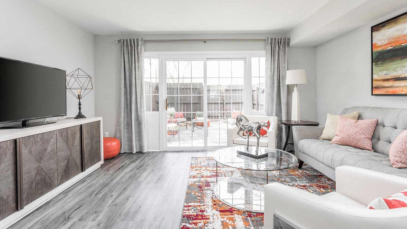 Spacious Living Room with Large Windows - Jamestown at St. Matthews