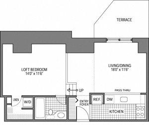 1 Bed 1 Bath - Loft