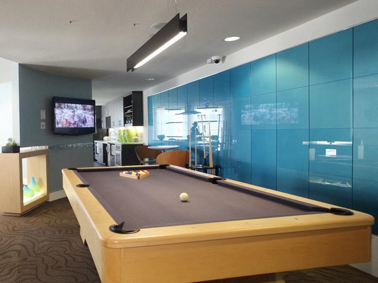 Community game area with pool table