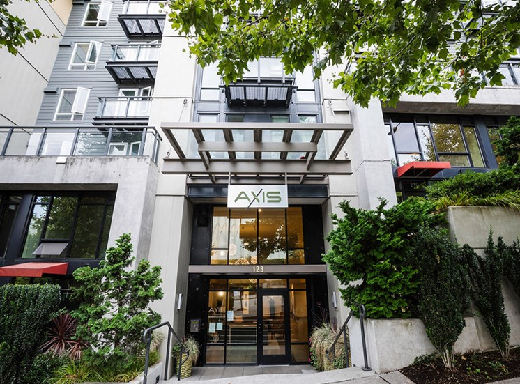 Exterior front entrance to Axis