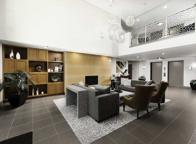 Lobby with seating area and fireplace