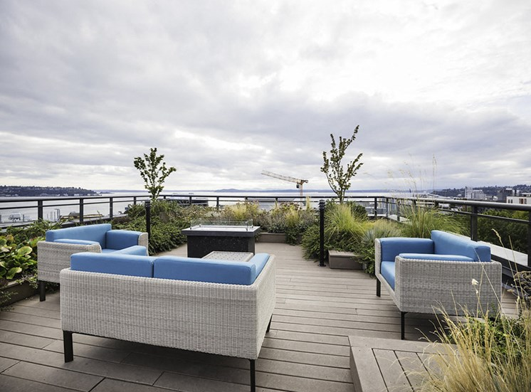 Relaxing roof top garden with lounge seating and firepit and beautiful views