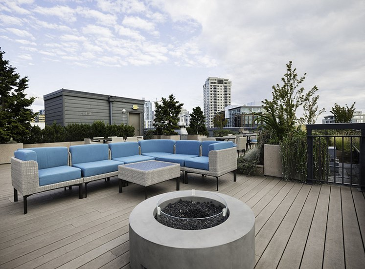 Relaxing roof top garden with lounge seating and firepit from a different angle