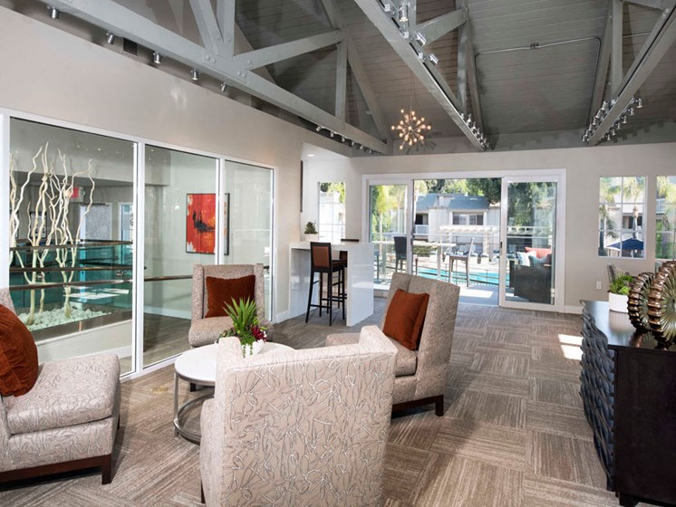 Clubhouse with TV, Fireplace, and Kitchen at The Verandas Apartments, 200 N. Grand Avenue, West Covina