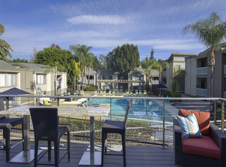 Poolside Dining Tables at The Verandas Apartments, West Covina, CA