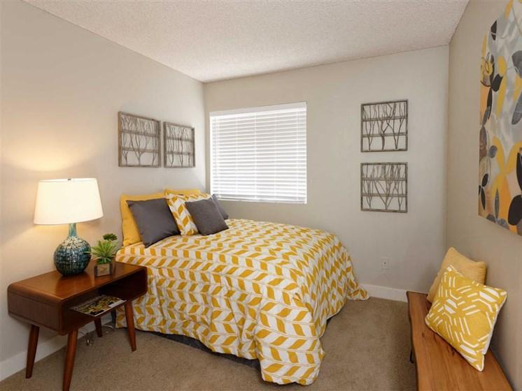 Beige Carpet in Bedroom at The Verandas Apartments, West Covina, California