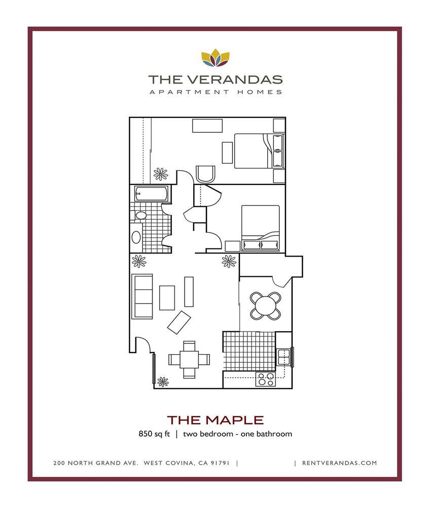2 Bed 1 Bath Floor plan at The Verandas Apartment Homes, CA, 91791