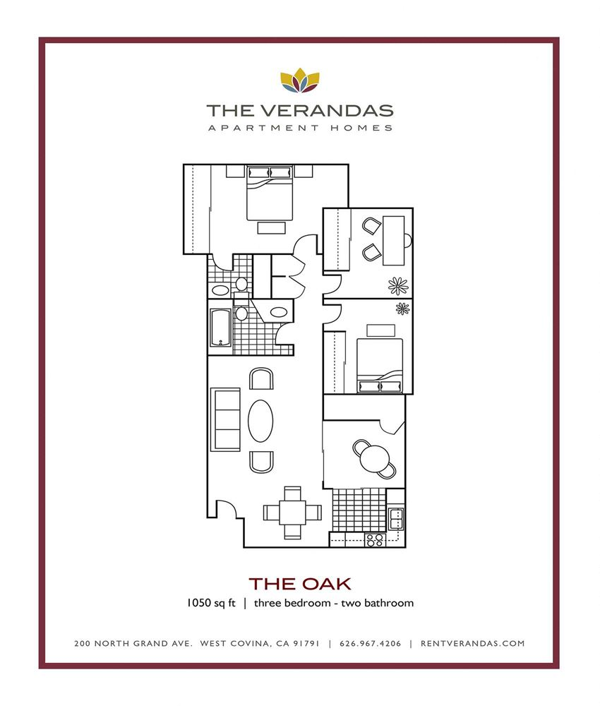 3 Bed 2 Bath Floor plan at The Verandas Apartment Homes, West Covina, 91791