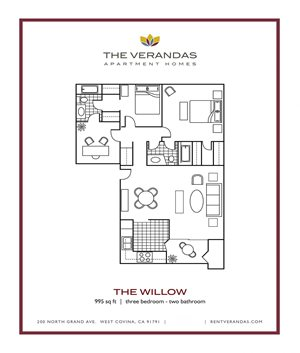 3 Bed 2 Bath Floor plan at The Verandas Apartment Homes, West Covina, CA