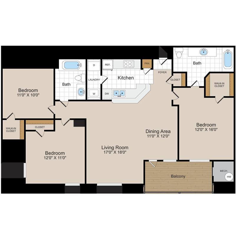 Floor Plans Milestone Apartment Homes Germantown Md