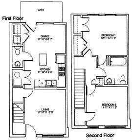 Two Bedroom Townhome Floor Plan 3