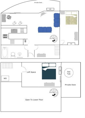 Penthouse - Two Bedroom-One Bath Floor Plan 4