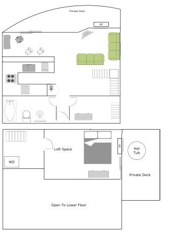 Penthouse - One Bedroom-One Bath Floor Plan 2