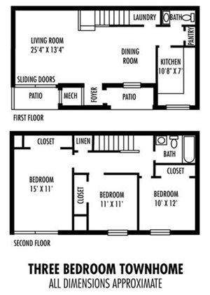 3Bedroom  1.5BA Townhome