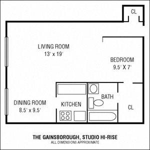Studio 1 Bathroom Hi-Rise