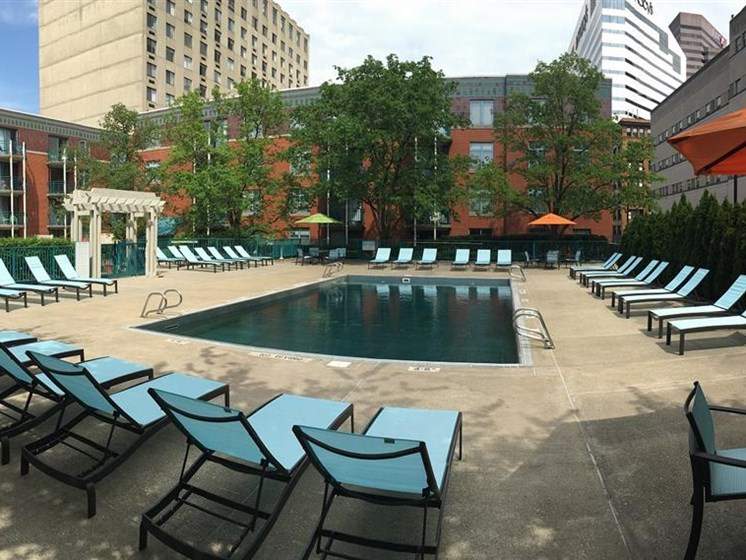 Swimming Pool With Lounge Chairs at Gramercy on Garfield, Cincinnati, Ohio