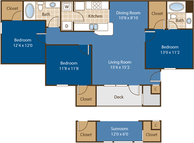 Floorplan for Birkdale at Abberly Woods Apartment Homes by HHHunt, Charlotte, 28216
