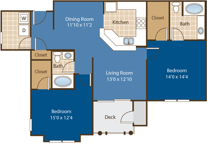 Floorplan for Blue Ridge at Abberly Woods Apartment Homes by HHHunt, Charlotte, NC