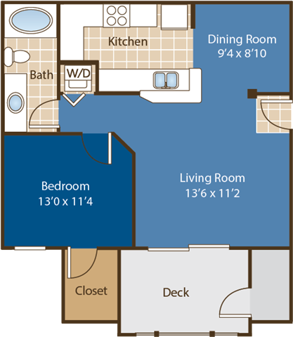 Floorplan for Blumenthal at Abberly Woods Apartment Homes by HHHunt, Charlotte, 28216