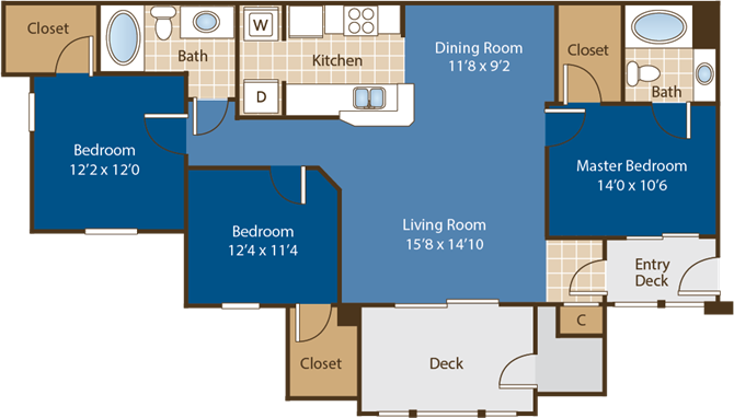 Floorplan for Davidson at Abberly Woods Apartment Homes by HHHunt, North Carolina