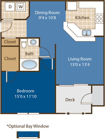 Floorplan for Hatteras at Abberly Woods Apartment Homes by HHHunt, Charlotte, NC 28216