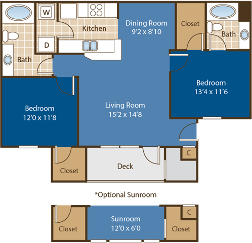 Floorplan for Mt. Holly at Abberly Woods Apartment Homes by HHHunt, Charlotte North Carolina