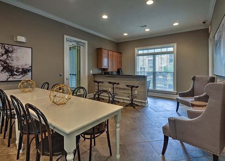 Study lounge with free coffee at Abberly Woods Apartment Homes by HHHunt, Charlotte, NC