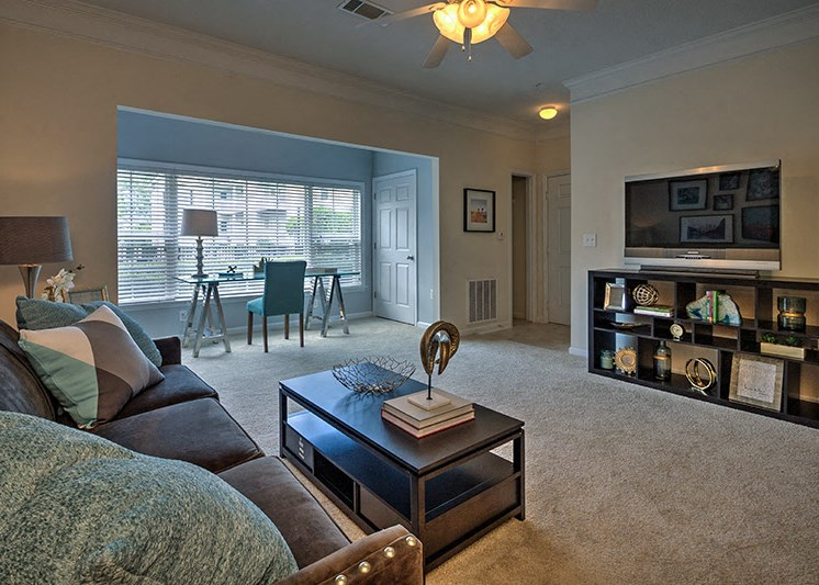 Spacious floor plans and wood-look flooring at Abberly Woods Apartment Homes by HHHunt, Charlotte