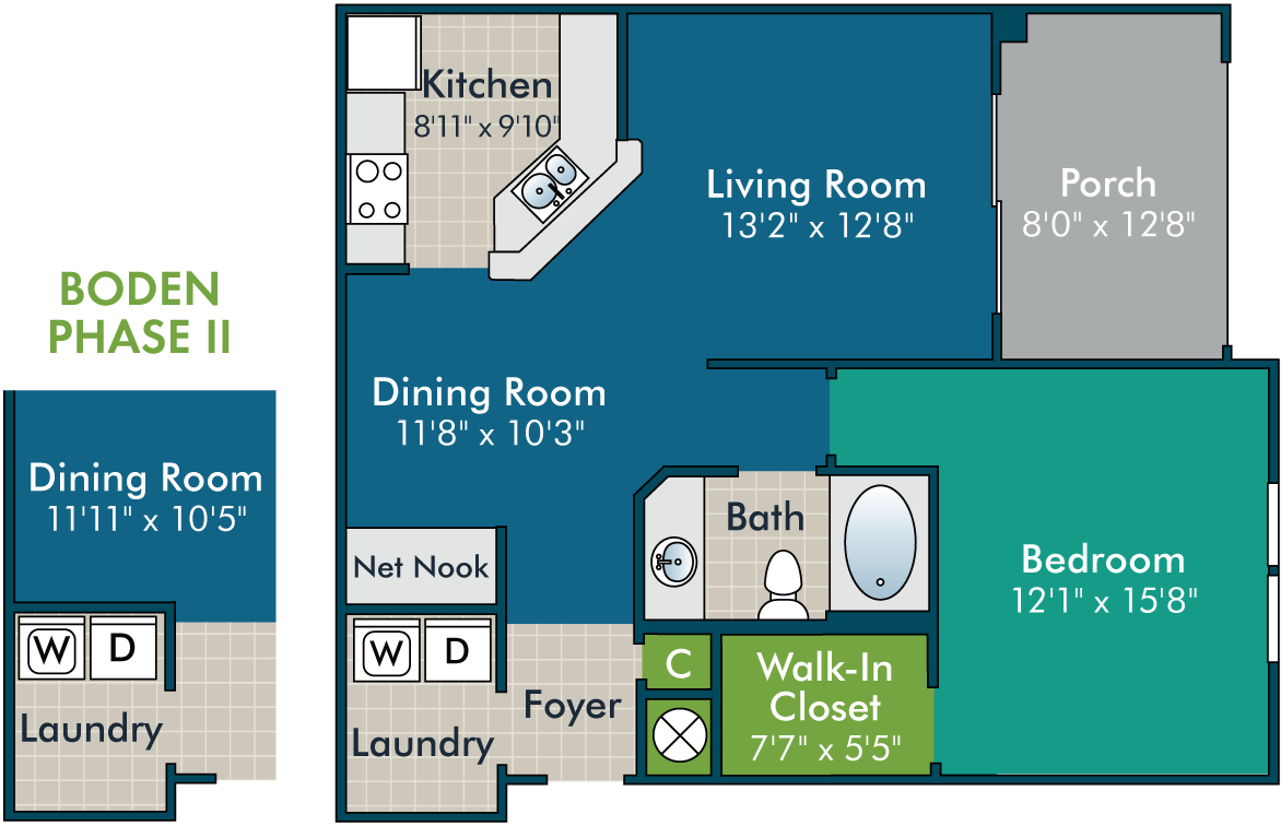 Boden_1BR1BA Floor plan at Abberly Green Apartment Homes by HHHunt, Mooresville, 28117