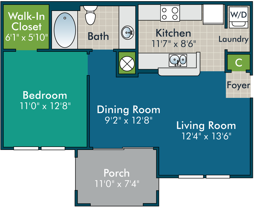 Dalmore-1BR1BA  Floor Plan at Abberly Green Apartment Homes by HHHunt, Mooresville