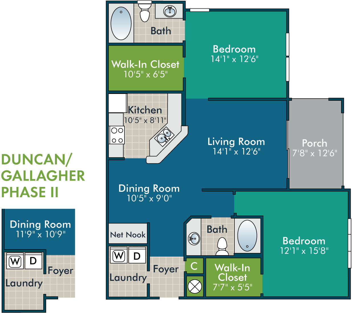 Duncan-Gallagher_2BR2BA Floor Plan at Abberly Green Apartment Homes by HHHunt, North Carolina