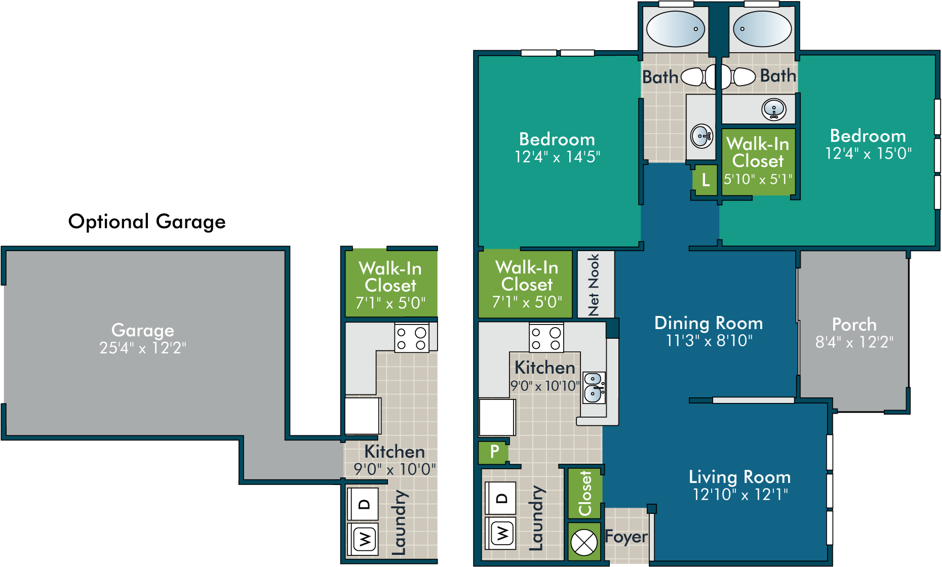 ElliotPh1_2BR2BA Floor Plan at Abberly Green Apartment Homes by HHHunt, Mooresville, 28117
