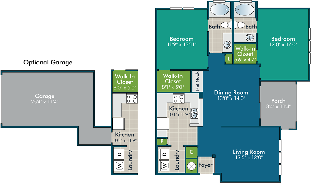 ElliotPh2_2BR2BA Floor Plan at Abberly Green Apartment Homes by HHHunt, North Carolina, 28117