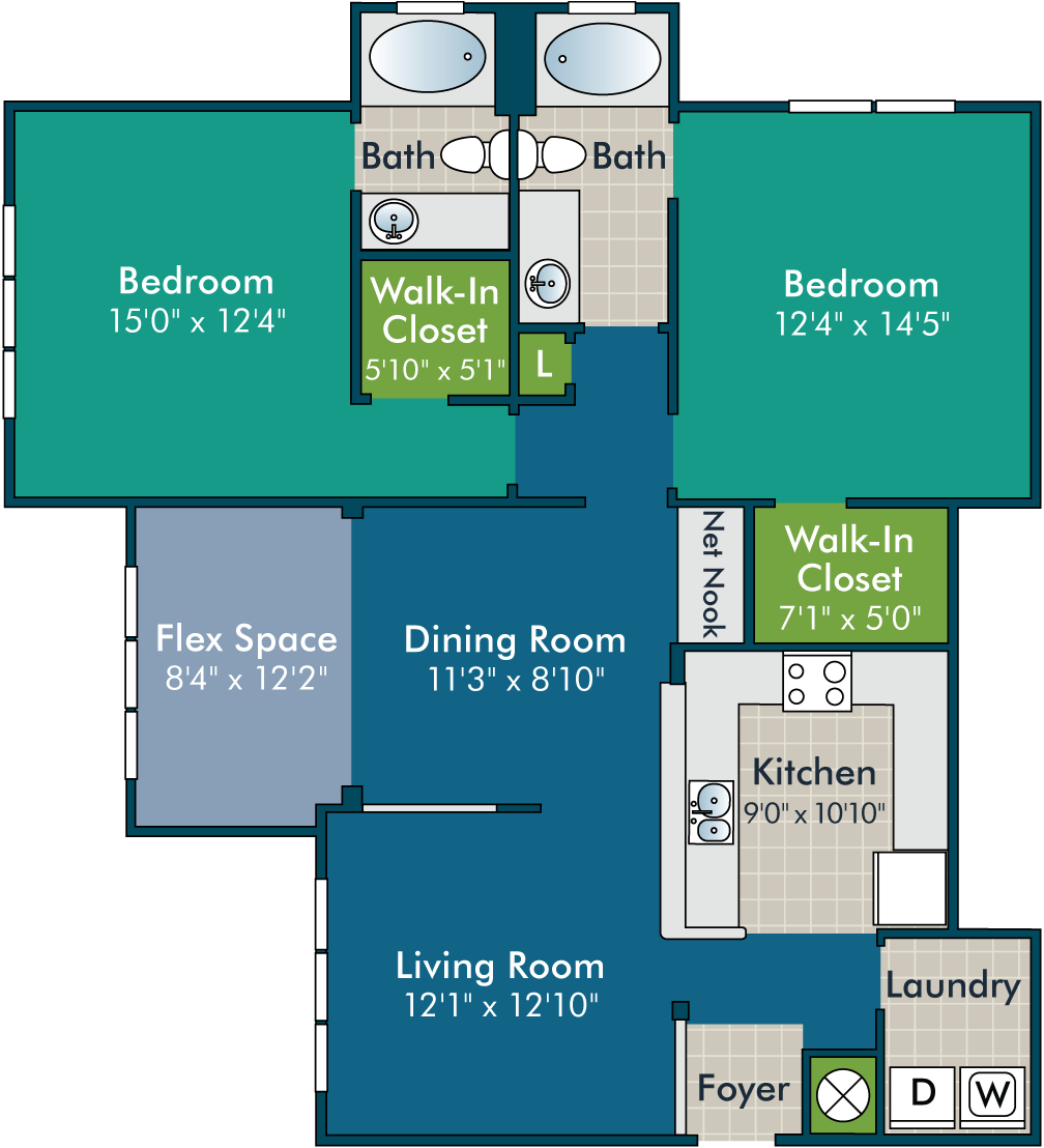 ForresterPH1_2BR2BA  Floor Plan at Abberly Green Apartment Homes by HHHunt, Mooresville