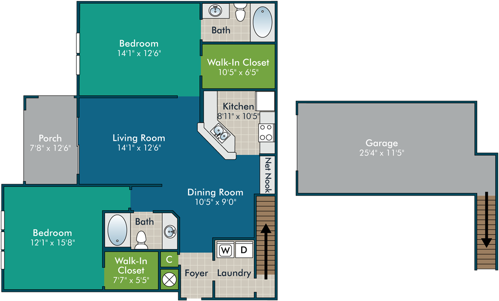 Hyland_2BR2BA Floor Plan at Abberly Green Apartment Homes by HHHunt, North Carolina, 28117