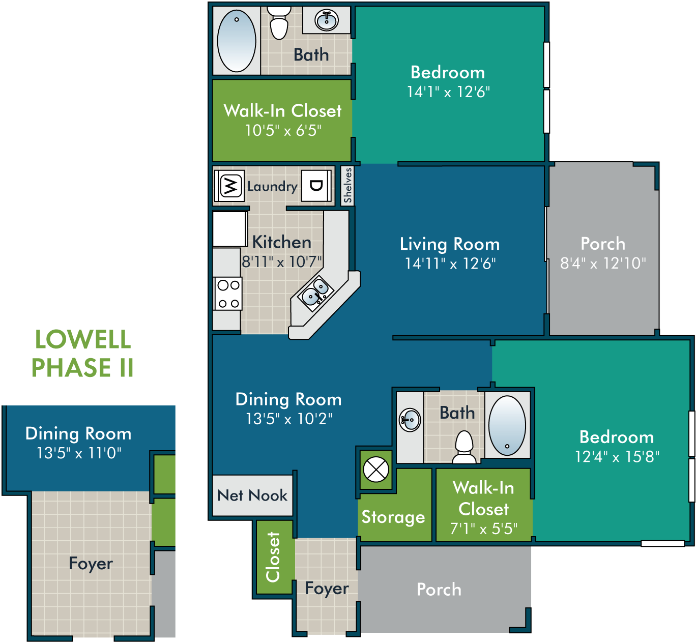Lowell_2BR2BA Floor Plan at Abberly Green Apartment Homes by HHHunt, Mooresville, North Carolina