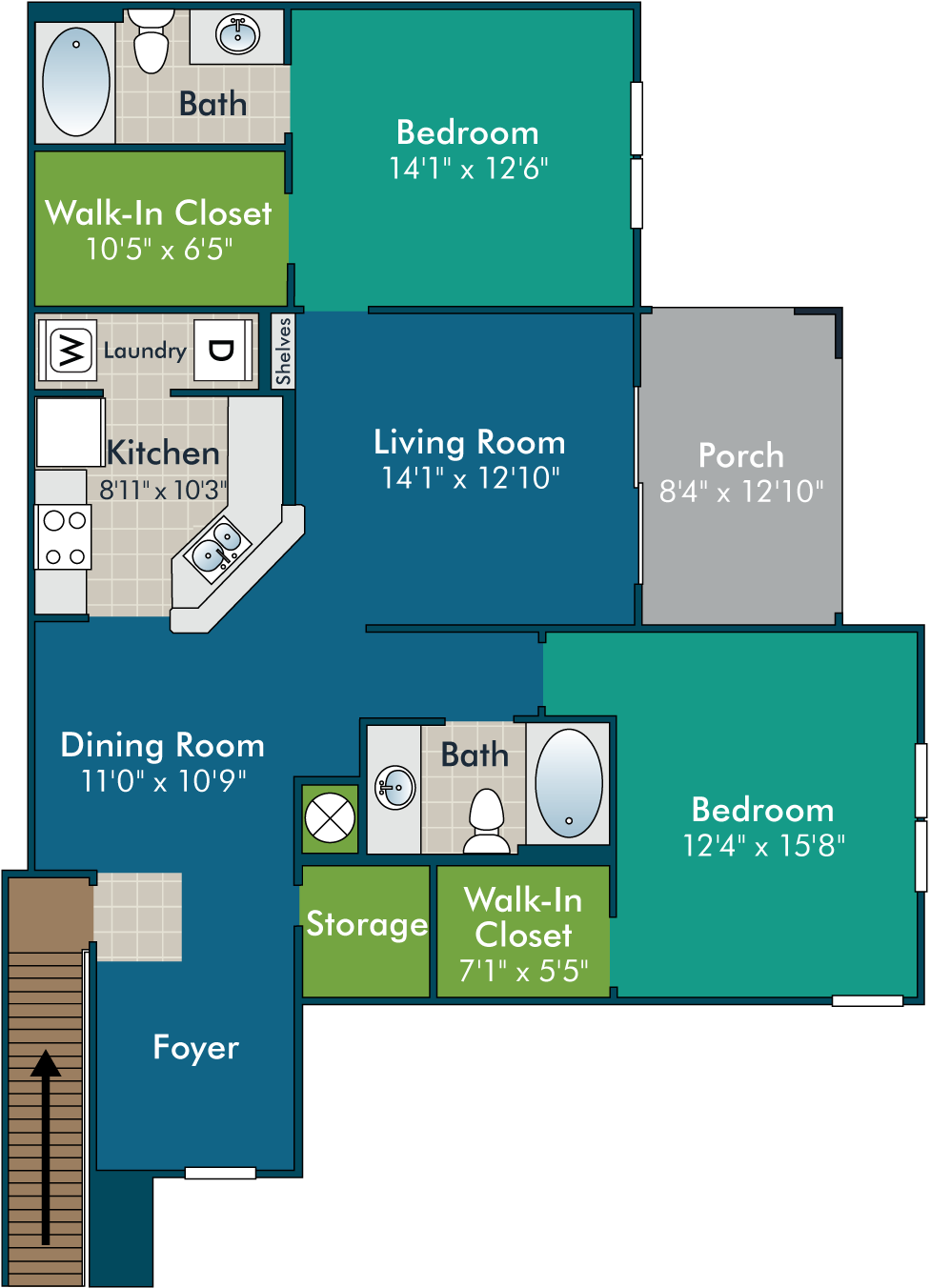 MadiganPh2_2BR2BA Floor Plan at Abberly Green Apartment Homes by HHHunt, Mooresville