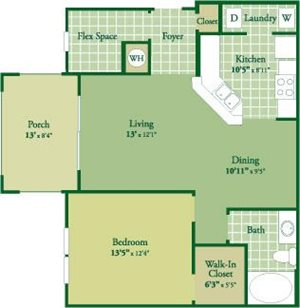 Floorplan for Avery II at Abberly Green Apartment Homes, Full State, 28117