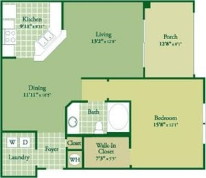 Floorplan for Boden II at Abberly Green Apartment Homes, Mooresville, NC 28117