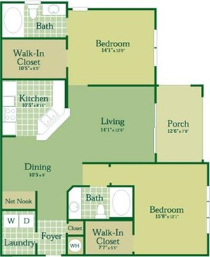 Floorplan for Duncan at Abberly Green Apartment Homes, Mooresville, 28117
