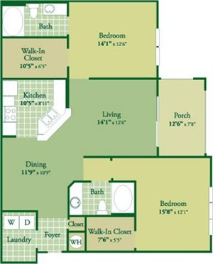 Floorplan for Duncan II at Abberly Green Apartment Homes, Mooresville, 28117