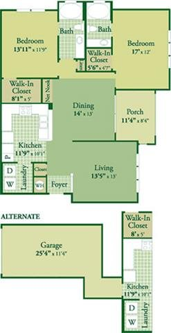 Floorplan for Elliot II with Garage at Abberly Green Apartment Homes, Mooresville, 28117