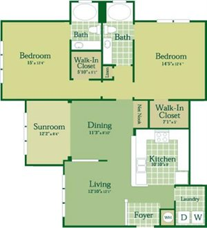 Floorplan for Forrester at Abberly Green Apartment Homes, Mooresville
